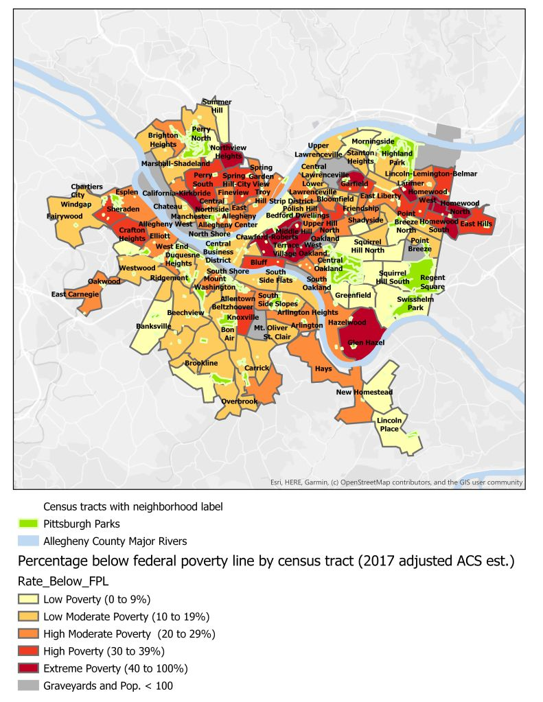 Census tracts by Adjusted Poverty (lower cases)